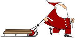 Santa pulling an empty sled - stock illustration