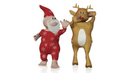 Stock Video Footage of Santa and Rudolph dancing