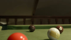 Playing Pool Double Hit Stock Footage