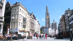 Antwerp - Cathedral of Our Lady from Suikerrui street Stock Footage