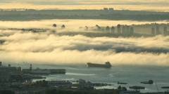 Vancouver Morning Fog, Mount Baker Stock Footage