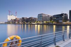 Stock Photo of Germany, Hamburg, Hafencity, Grasbrook Harbour with Elbe Philharmonic Hall and