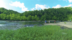 Cumberland River Young Couples 1 HD Stock Footage