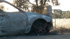 Burnt Car DNxHD Mid 05 Stock Footage