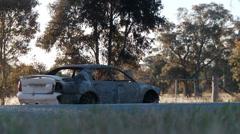 Burnt Car DNxHD Wide 05 Stock Footage
