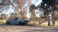 Burnt Car DNxHD Wide 03 Stock Footage