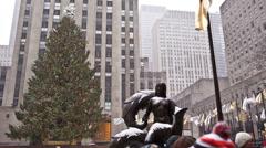 Christmas Tree at Rockefeller Center Stock Footage