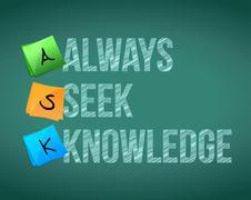 Always seek knowledge message illustration Stock Illustration