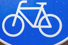 Germany, Aachen, road sign for cyclists Stock Photos