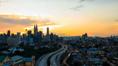 Timelapse of sunset at Kuala Lumpur with zoomed out. Stock Footage
