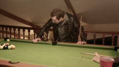 Playing Snooker Missing the Hole Stock Footage