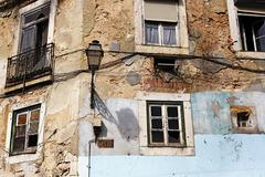 Stock Photo of Portugal, Lisbon, Alfama, facade of decaying house
