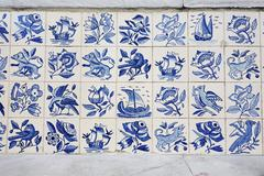 Portugal, Lisbon, Alfama, part of wall with white and blue azulejos - stock photo