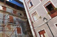 Stock Photo of Portugal, Lisbon, Alfama, facades of a decaying and a refurbished residential