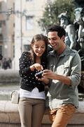 Portugal, Lisboa, Baixa, Rossio, Praca Dom Pedro IV, smiling young couple Stock Photos