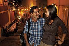 Portugal, Lisboa, Carmo, Calcada du Duque, young couple looking for restaurant - stock photo