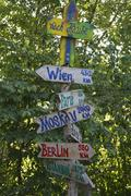 German signpost with capital cities - stock photo