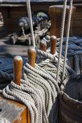 Italy, Genoa, old harbour, Porto Antico, replica of a galleon, rope end - stock photo