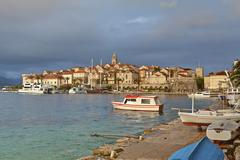 Croatia, Dalmatia, View of Korcula harbour - stock photo