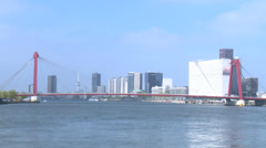WIllemsbrug bridge over Maas in Rotterdam city center Stock Footage