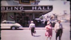 Las Vegas street scene on sunny, summer day,  758  vintage film home movie Stock Footage