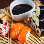 japanese seafood sushi - stock photo