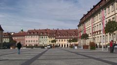 Maximiliansplatz market square in Old Town Bamberg Stock Footage