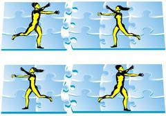 correctly folded puzzle - stock illustration