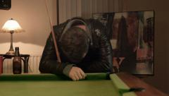 Playing Snooker Loosing the game Stock Footage