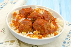 stewed meatballs - stock photo