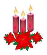 Red Poinsettia Flowers and Three Christmas Candles - stock illustration