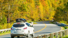 Driving on Blue Ridge Parkway in Fall with Golden Leaves - stock footage