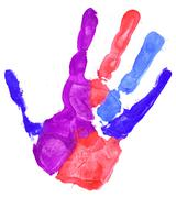 close up of colored hand print on white - stock illustration