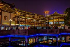 Ancient tea house fang bang zhong lu old city at night shanghai china Stock Photos