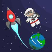 Cute Astronaut Spaceship Earth - stock illustration