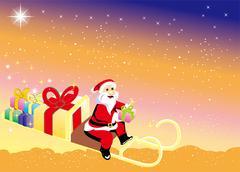 Santa Claus brings Christmas gifts - stock illustration