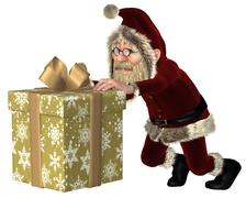 Santa Claus Pushing a Christmas Gift - stock illustration