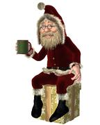 Santa Claus Having a Tea Break - stock illustration