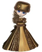Toon Winter Princess in Gold - stock illustration