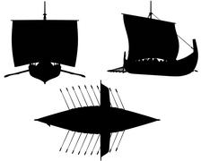 Viking Longship Silhouettes with Oars - stock illustration