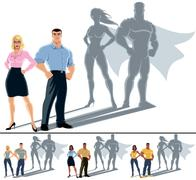 Couple Superhero Concept - stock illustration