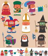 Medieval People 2 - stock illustration