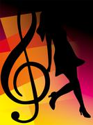 Abstract music notes design for music background use - stock illustration