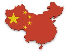China map 3d shape Stock Illustration