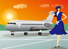 Stewardess with airplane travel background Stock Illustration