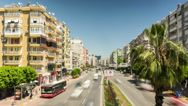 Stock Video Footage of Blurred cars traffic in sunny day in Antalya, Turkey