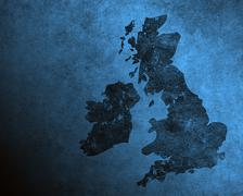 Blue grungy uk and ireland map Stock Illustration