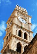 Khan al-umdan clock tower, acre Stock Photos