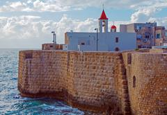 Sea wall and port of acre Stock Photos