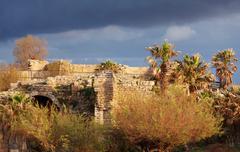 ruins of antique harbor, caesarea maritima - stock photo